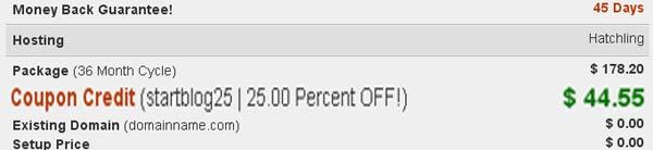 hostgator discount example