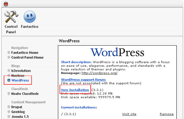 wordpress installation hostgator